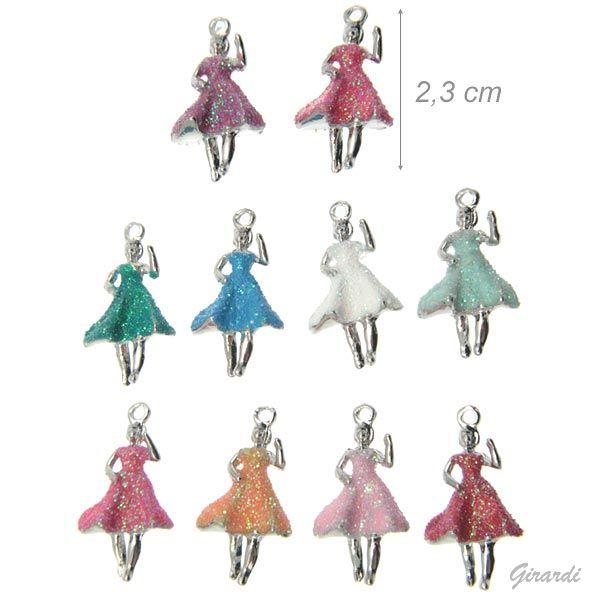 Ciondoli Ballerina In Metallo Glitter Assortito
