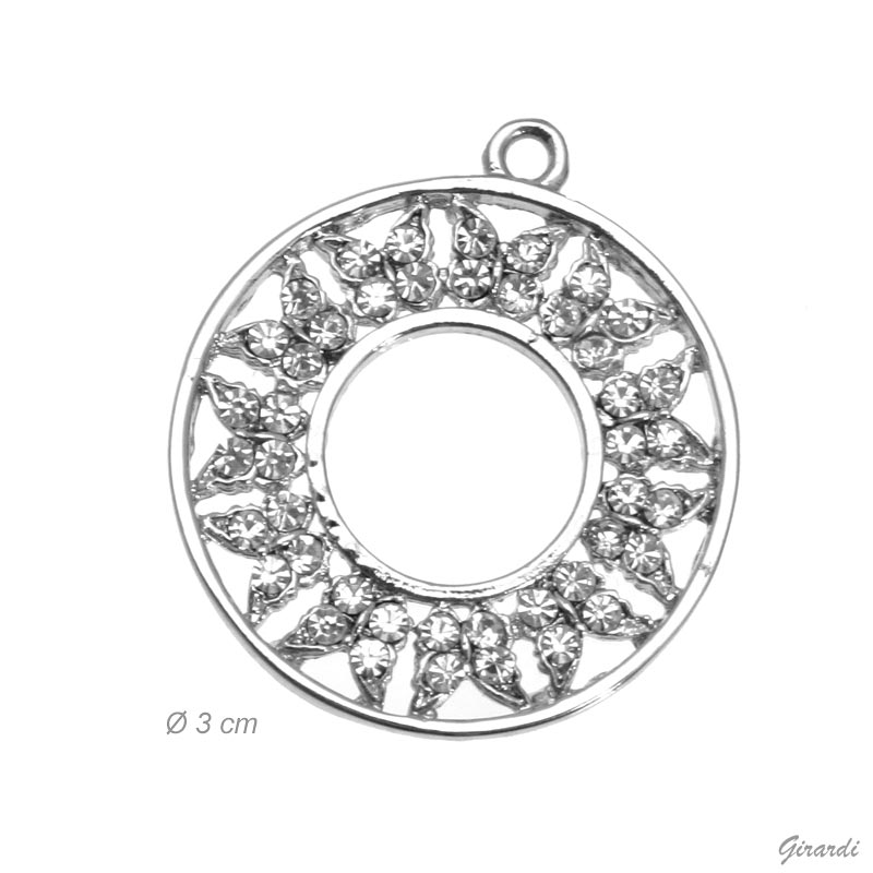 Round Pendant With Strass Butterflies (net Price)
