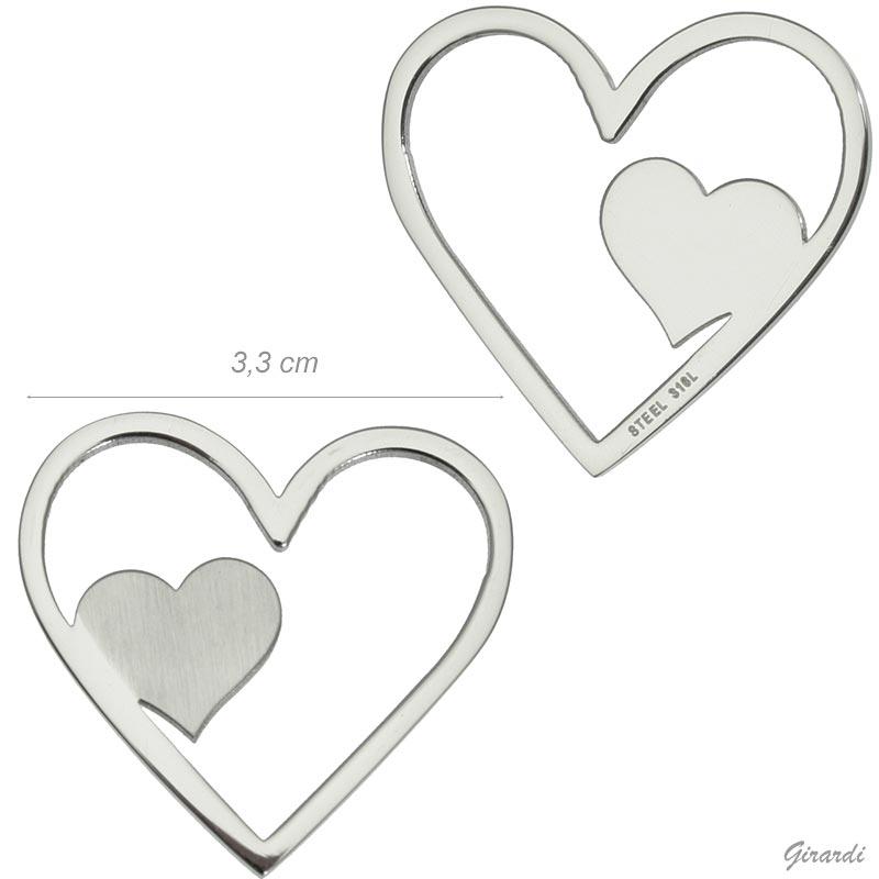 Double Heart Pendant In 316l Steel (net Price)