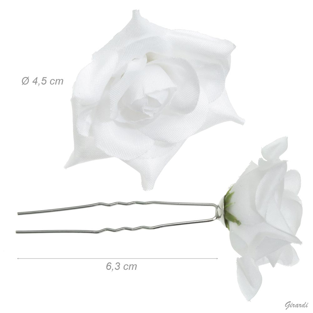 Forcina Metallo Con Rosa Poliestere Bianco