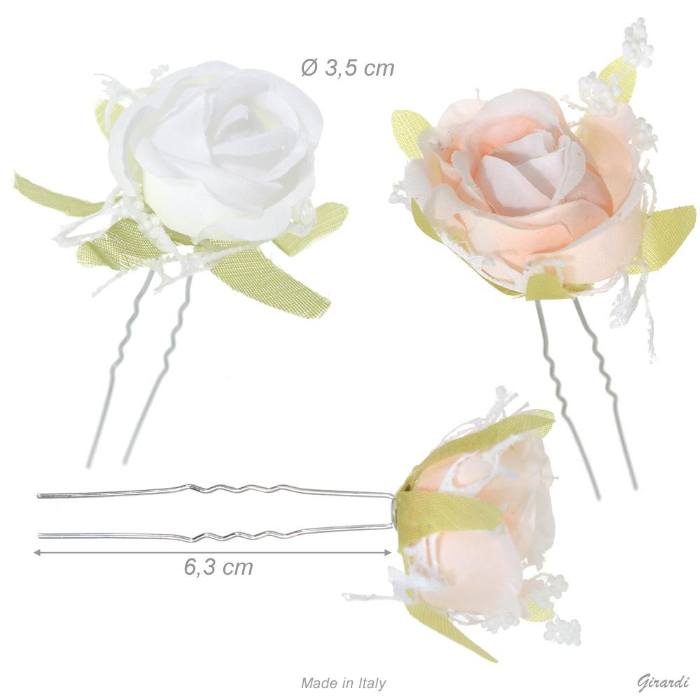 Metal Hair Pin With Rose And Net