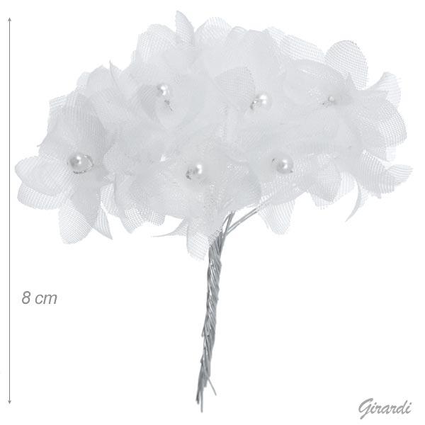 Decorazione Per Capelli Con 12 Fiori In Tessuto Bianco
