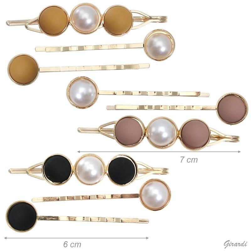 Set Di 3 Mollette Con Mezze Perle