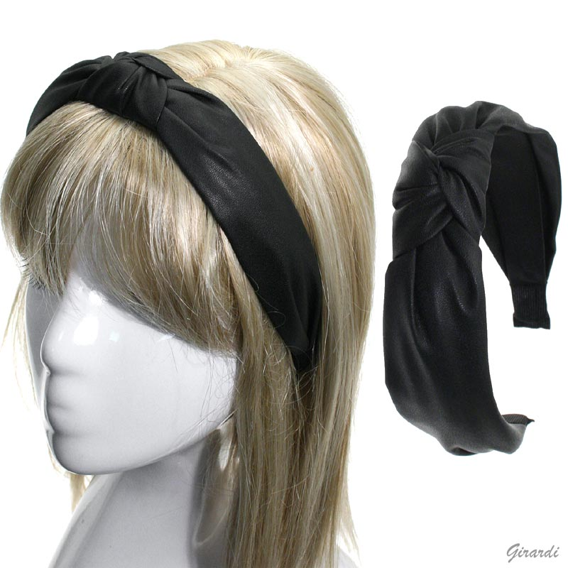 Headband Coated Faux Leather With Knot