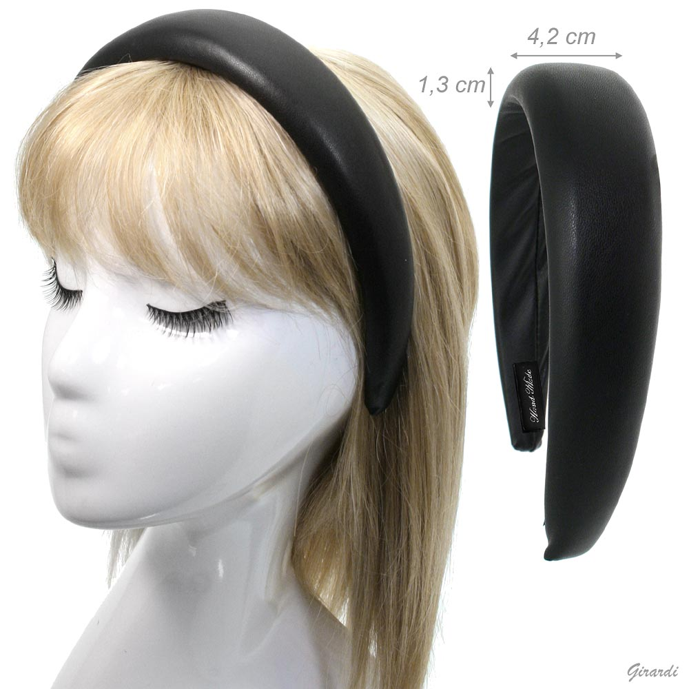 Bulging Headband Covered With Black Leather
