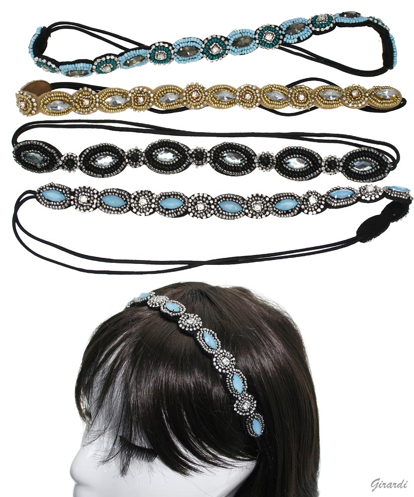 Elastic Headwrap With Beads And Cabochon