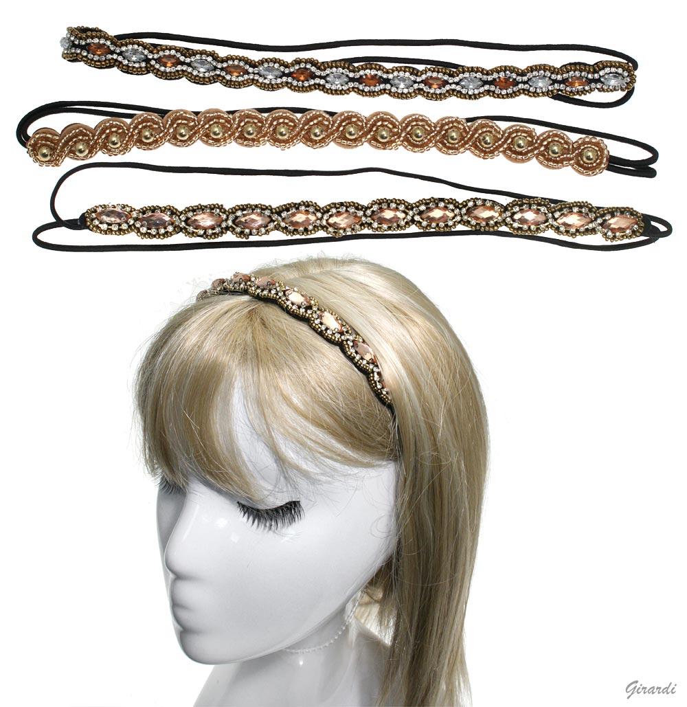 Elastic Headband With Crystal, Beads And Rhinestone