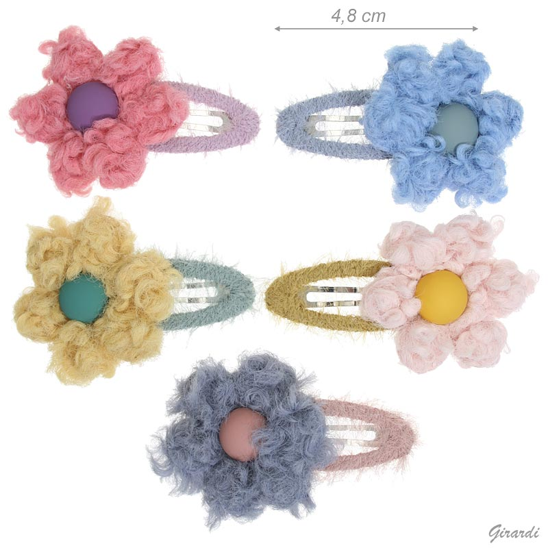 Snap Hair Clips Covered With Wool And Flower