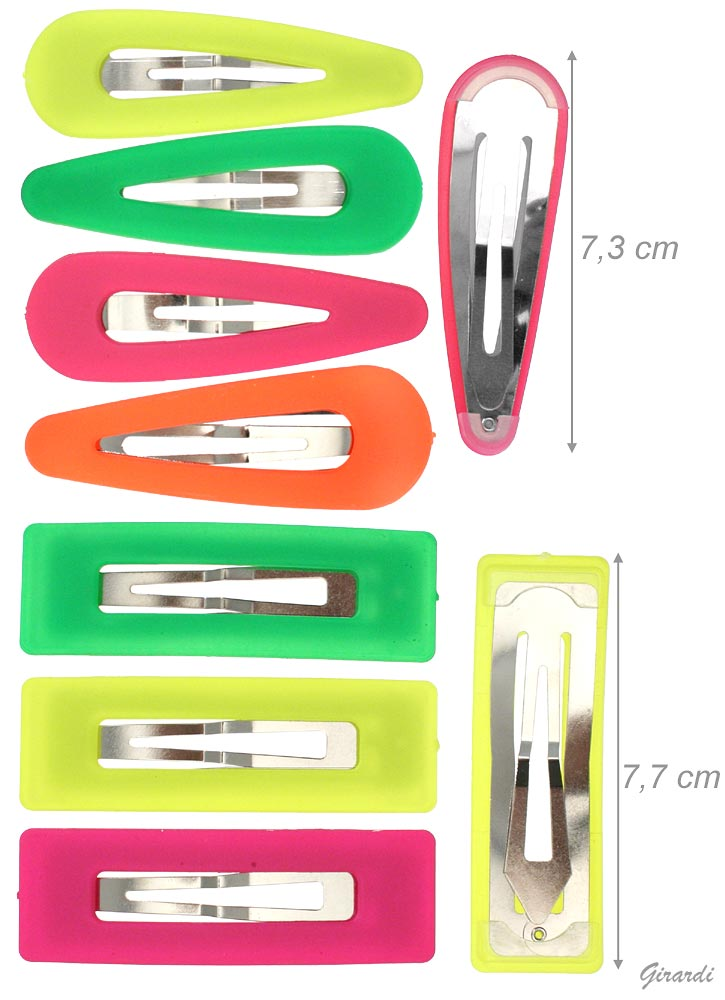 Metal Snap Hair Clips With Fluo Application
