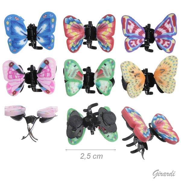 Black Metal Mini Hair Claw With Fimo Butterfly