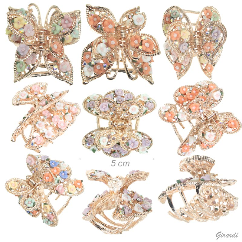Butterfly Hair Claw With Roses 5 Cm