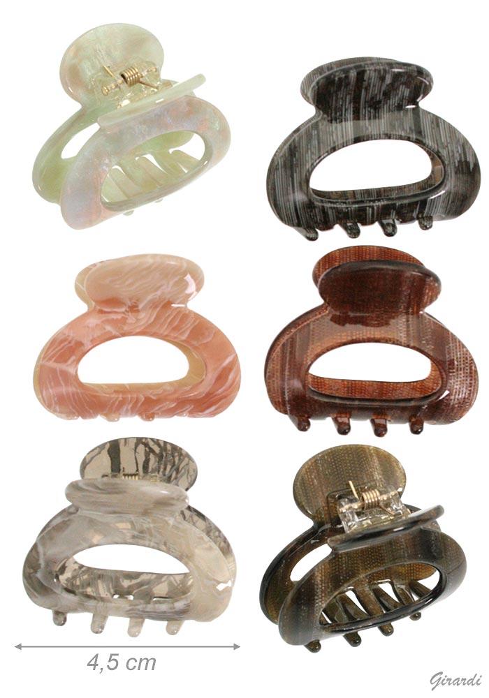 Marble Oval Open Acrylic Hair Claw 4,5 Cm