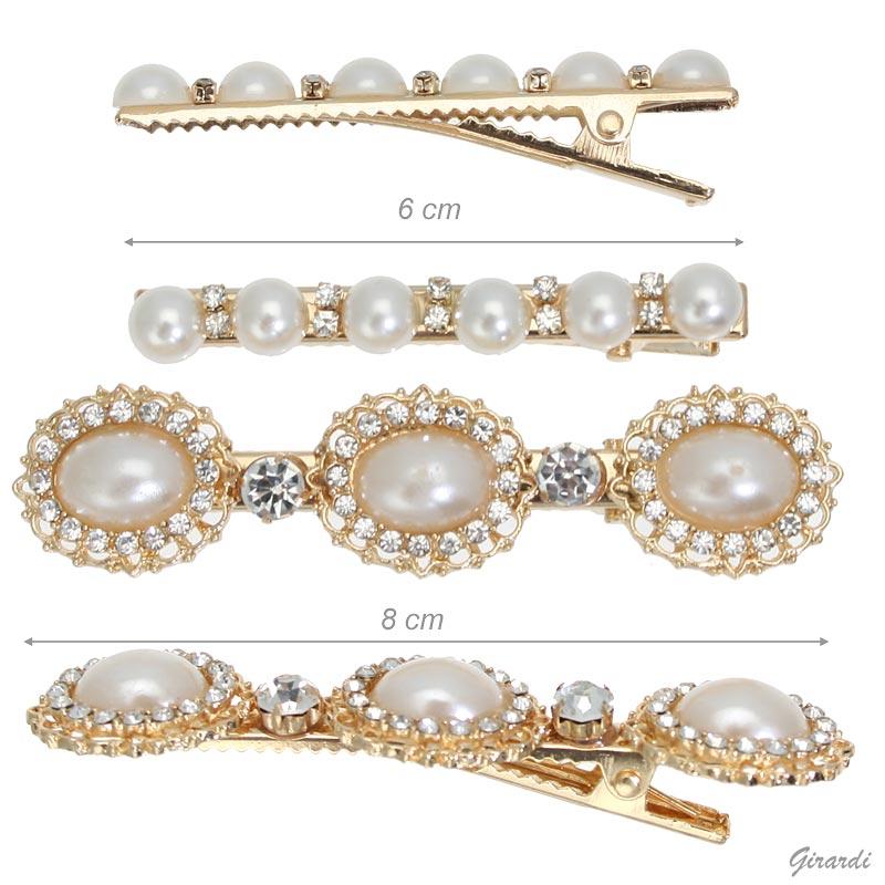 Set Di 2 Pinze Becco Con Perle E Strass