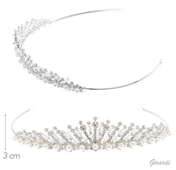 Diadema Con Perle, Strass E Cristalli