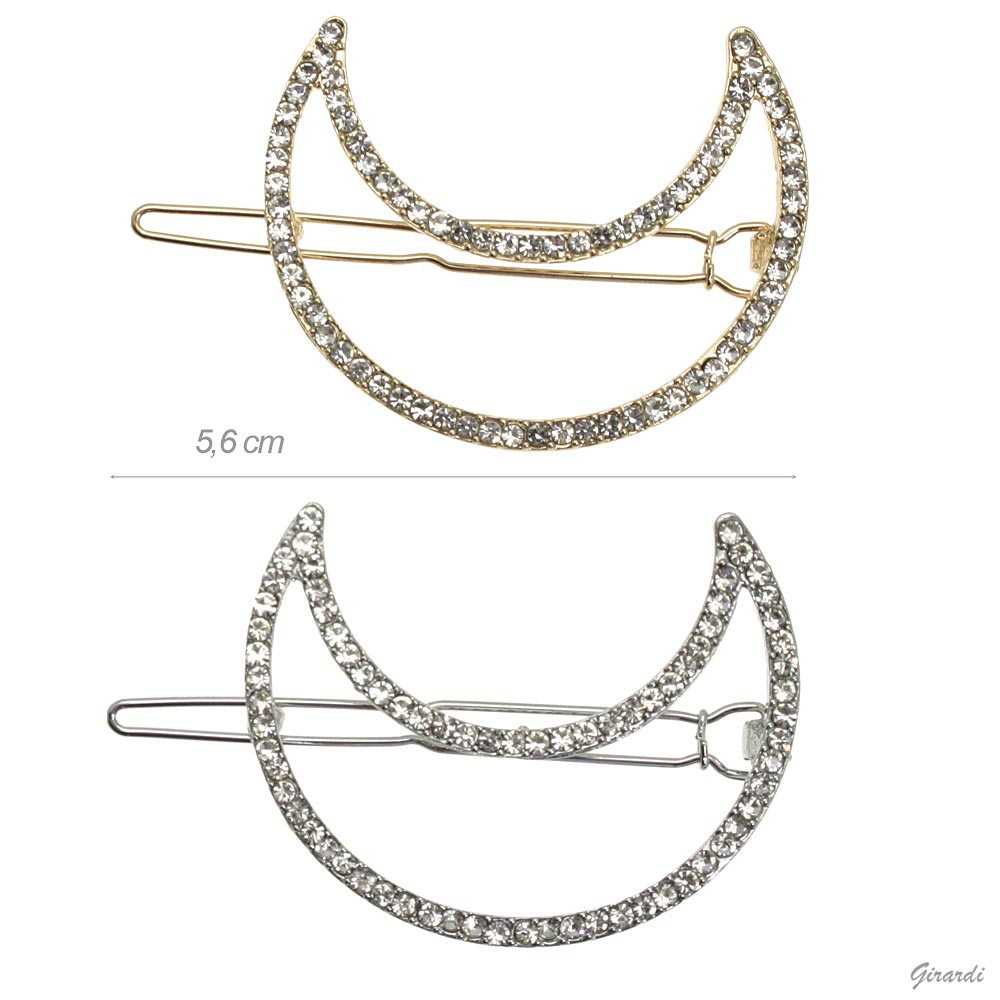 Moon Hair Clip With Strass