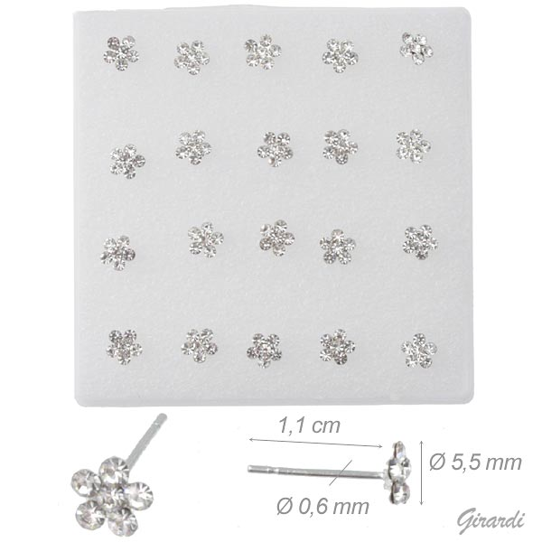 Box Of 20 Stud Earrings With Small Floral 5.5 Mm