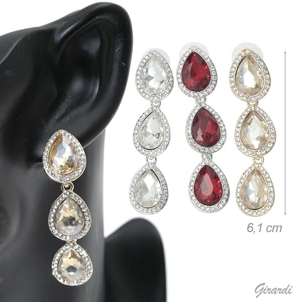 Pendant Earrings With 3 Drops Of Strass