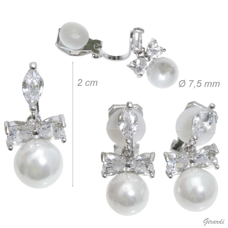 Clip Earrings With Zircon Bow And Pearl