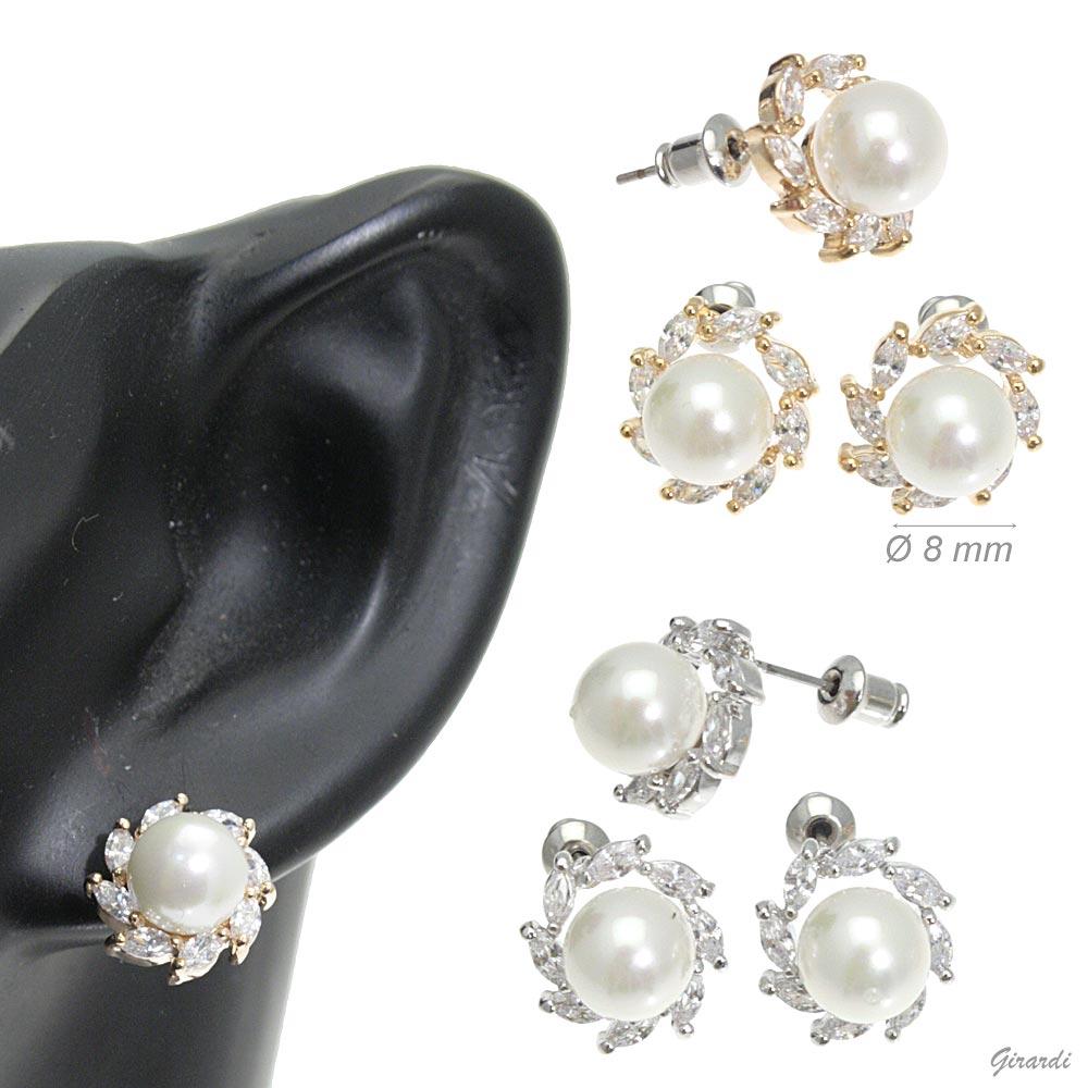 Orecchini Con Perla E Zirconi