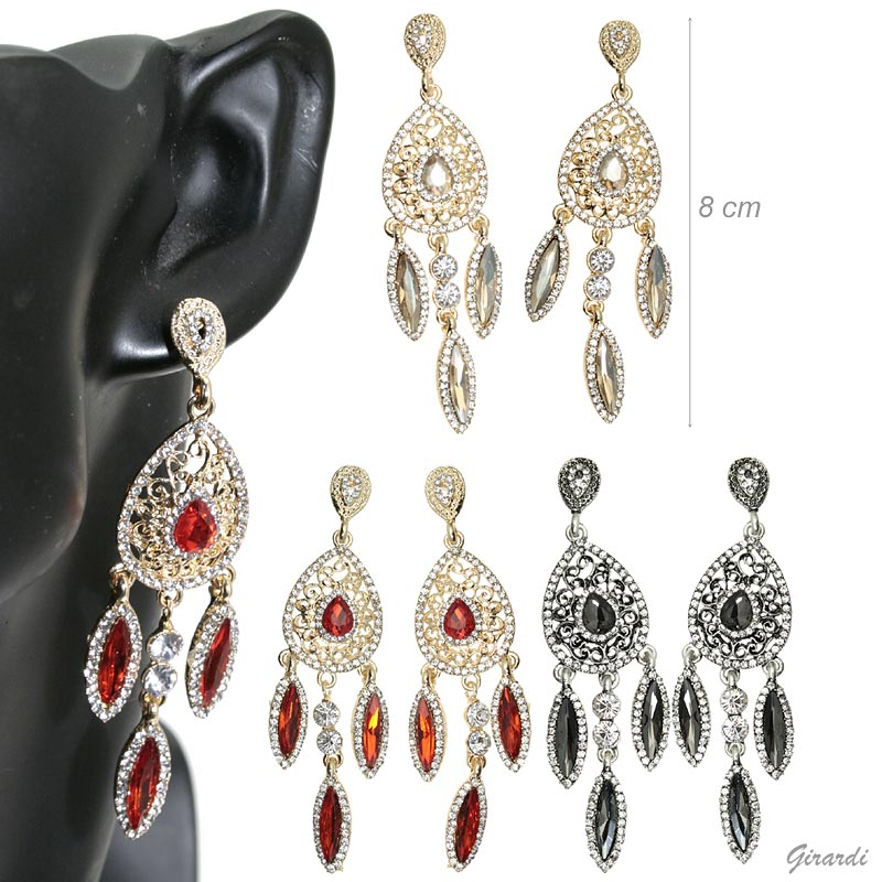 Metal Pendant Earrings With Drop Strass