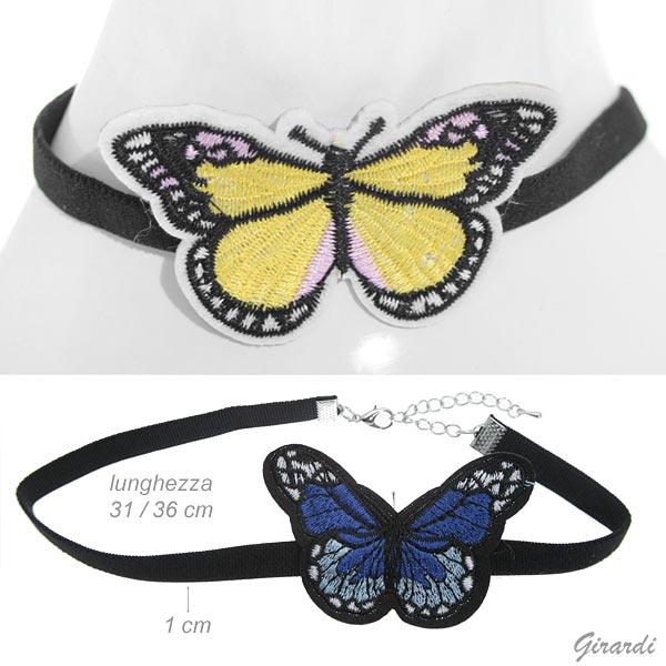 Collare Elastico Nero Con Decoro Farfalla