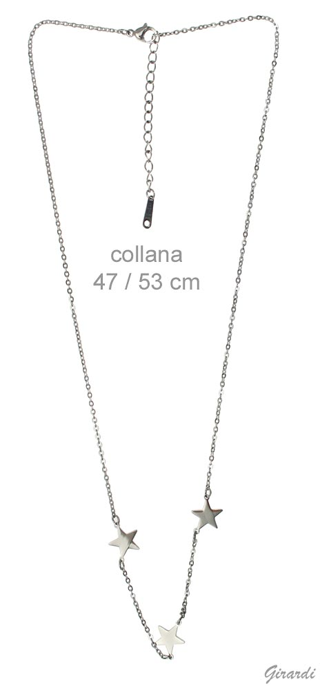 Steel Necklace With 3 Stars
