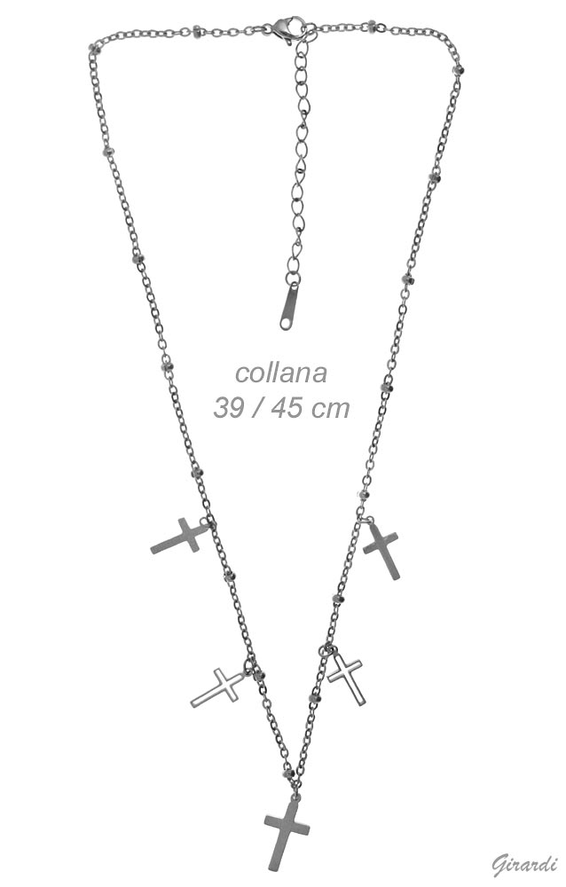 Steel Necklace With 5 Cross