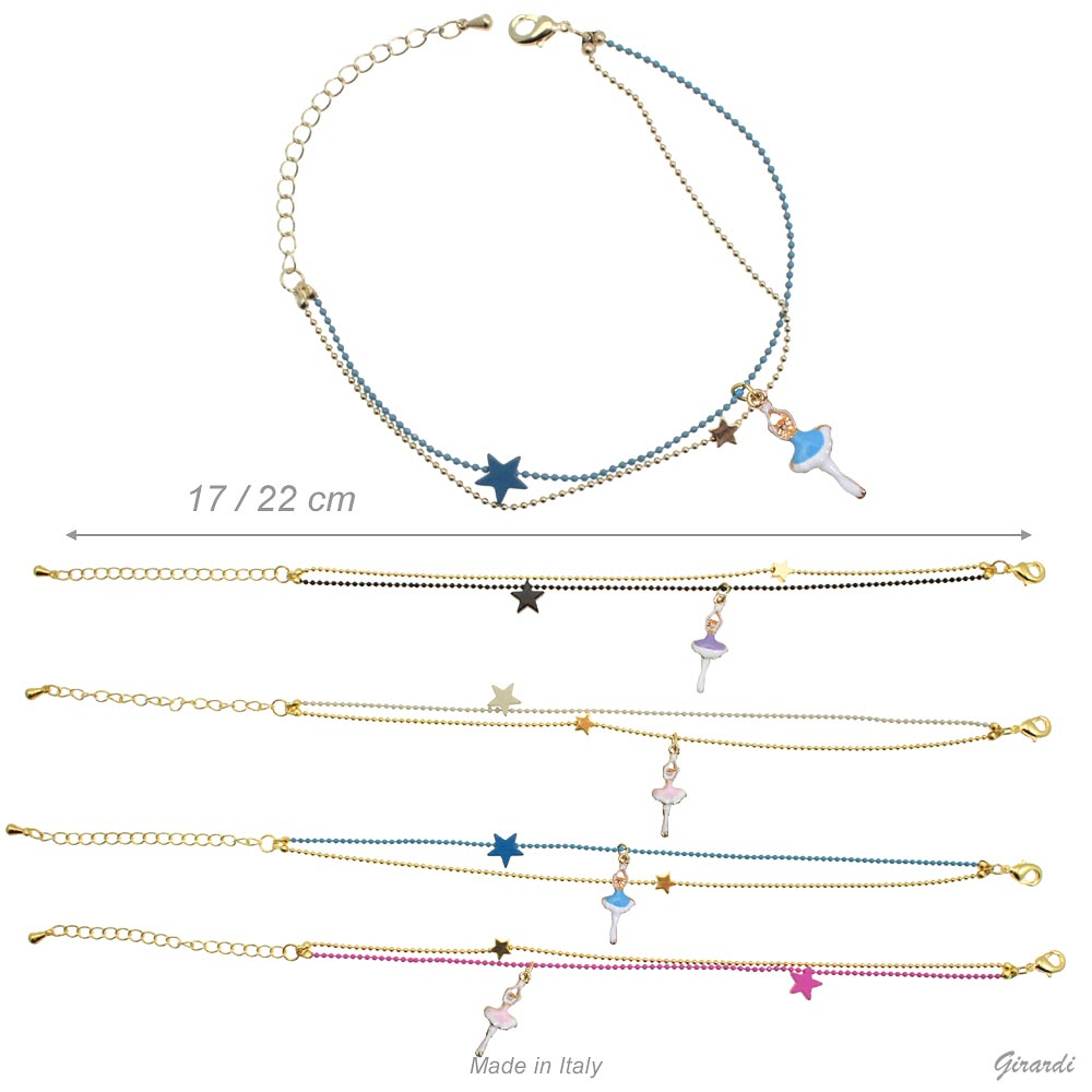 Two Colors Metal Bracelet With Stars And Ballerina