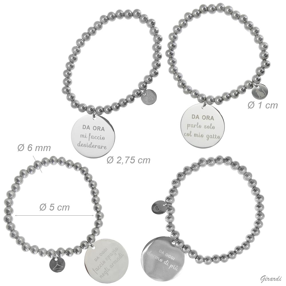 Bracelet In Steel And Plates With Message
