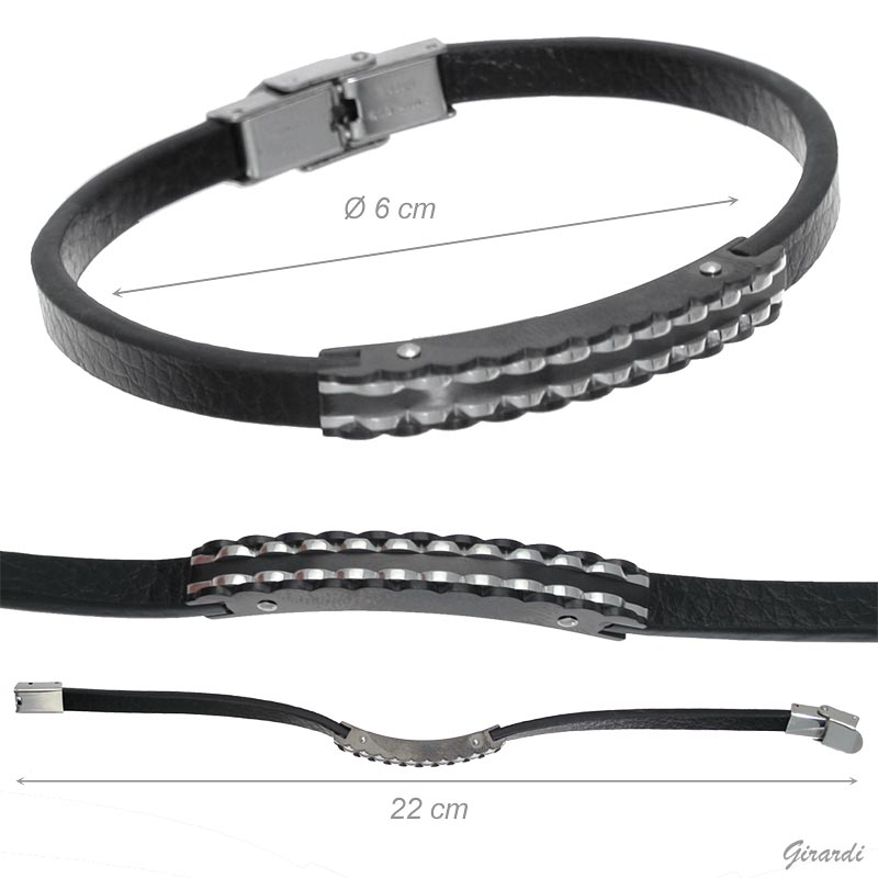 Bracelet In Black Leather And Steel