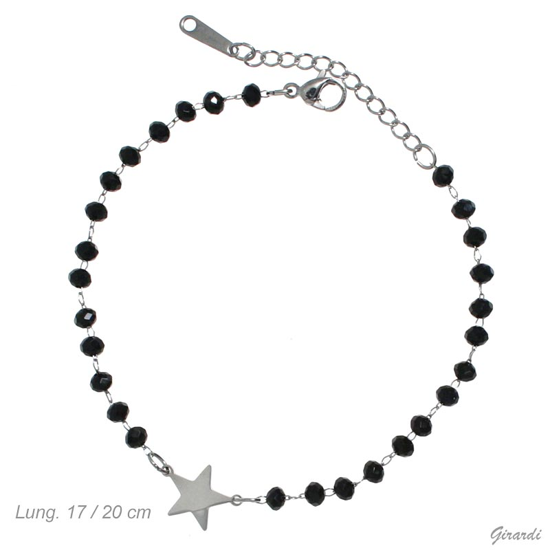 Steel Bracelet With Star And Black Crystals