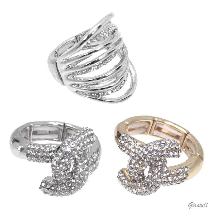 Elasticized Metal Rings With Strass