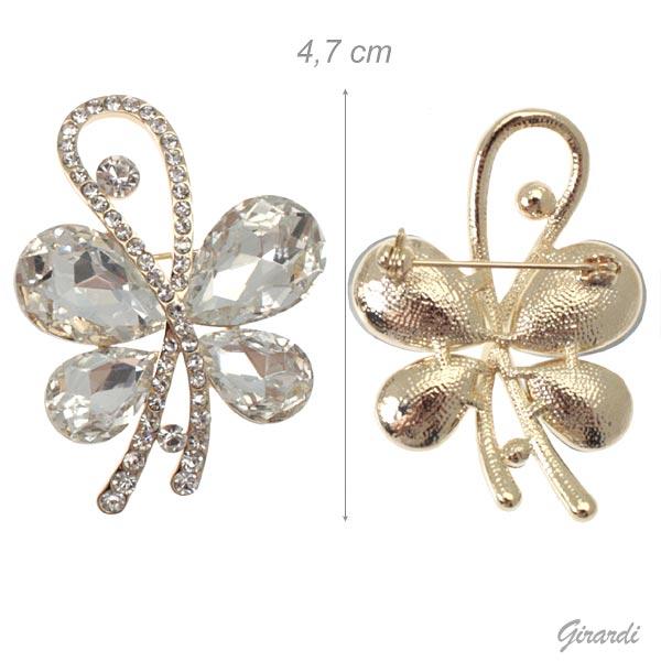 Spilla Farfalla Stilizzata Con Strass Su Base Tinta Oro