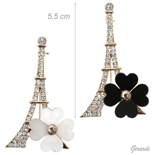 Eiffel Tower Brooch With Metal Flower And Strass