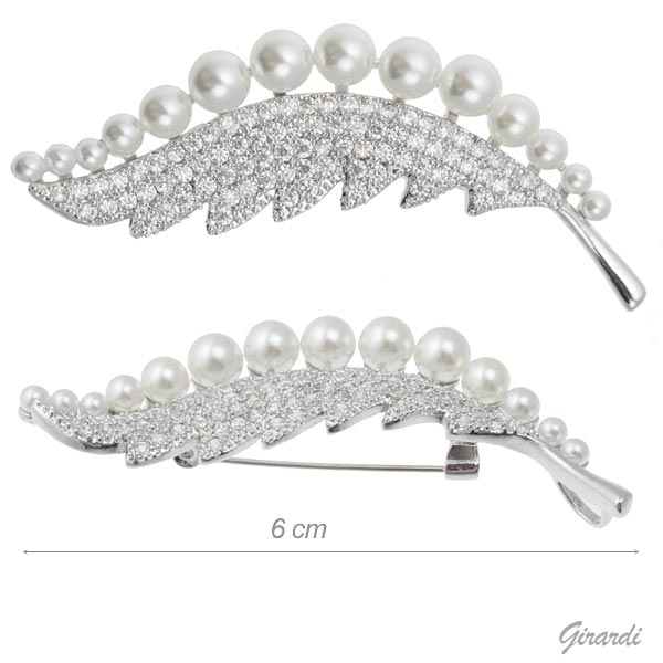 Brooch Leaf With Zirconia And Pearls 6 Cm