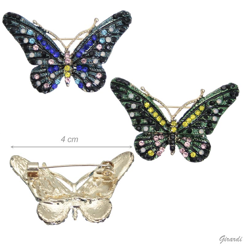Butterfly Metal Brooch With Strass