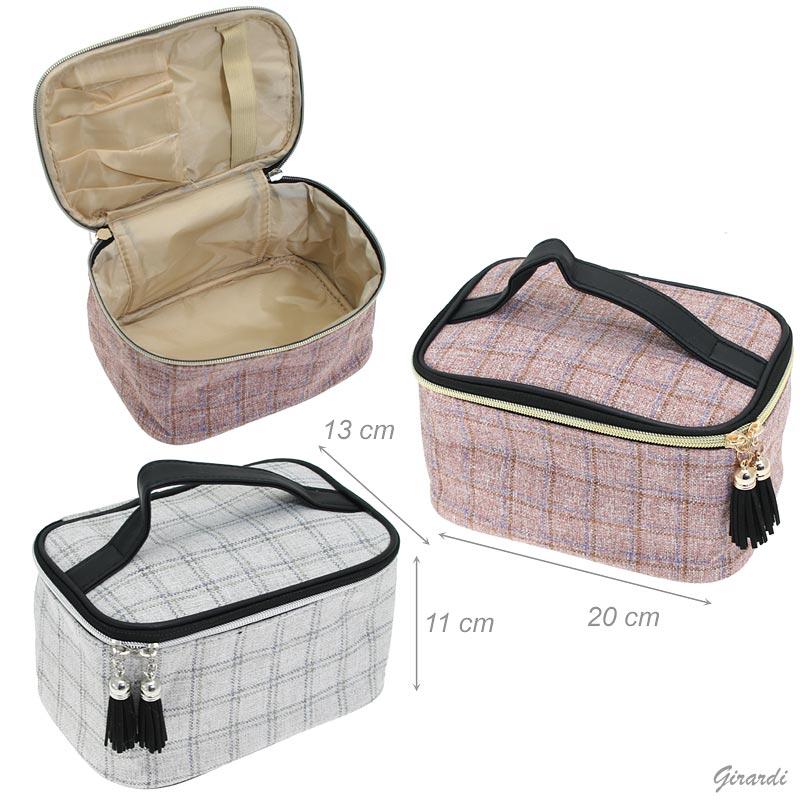 Checkered Fabric Beauty Case 20x11x13 Cm