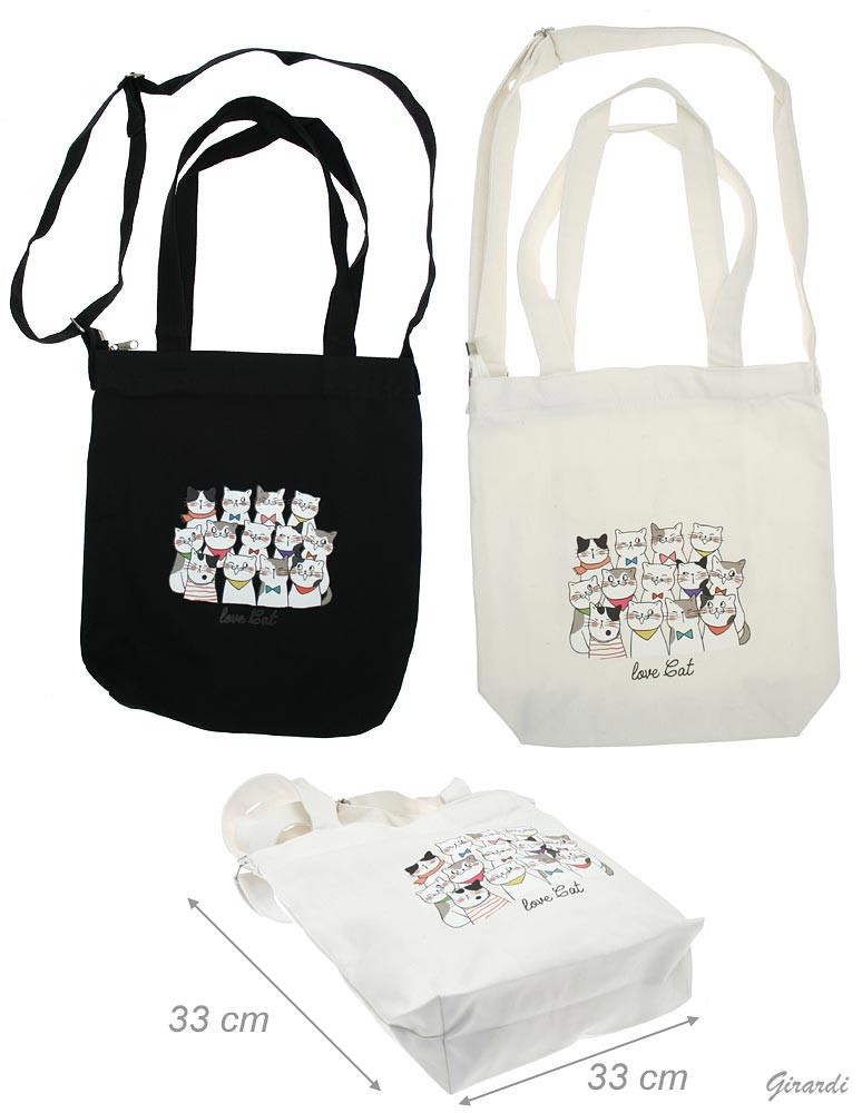 Love Cat Fabric Bag With Shoulder Strap