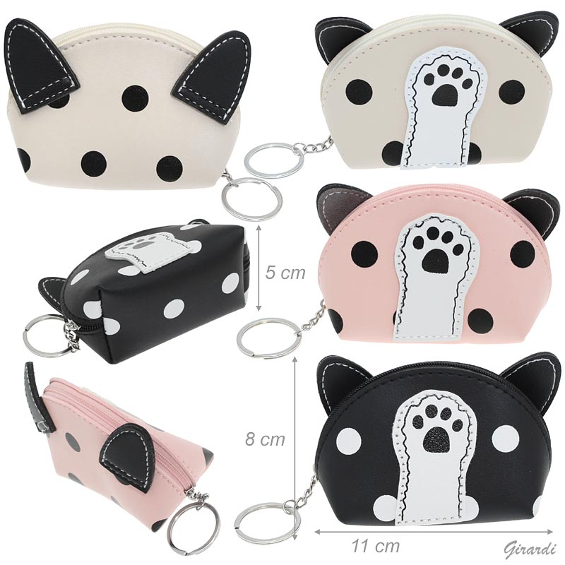 Faux Leather Coin Purse With Paw