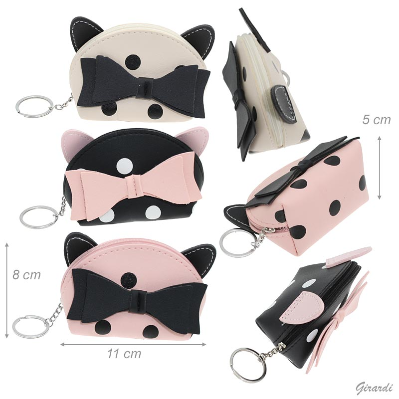 Cat Ears-bow Faux Leather Coin Purse With Keyring
