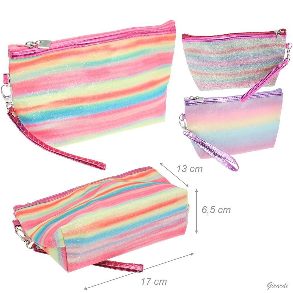 Rainbow Glitter Plastic Zip Pouch