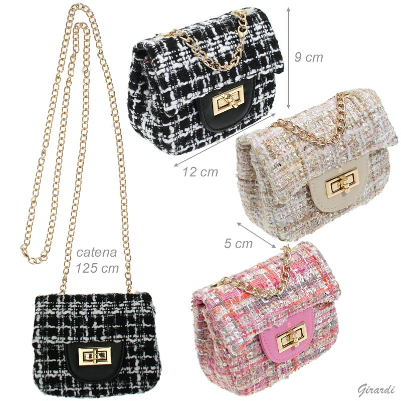 Mini Boucle Fabric Bag With Chain Shoulder Strap