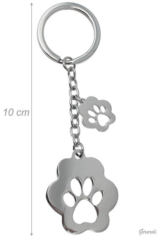 Steel Keychain With Paw Print