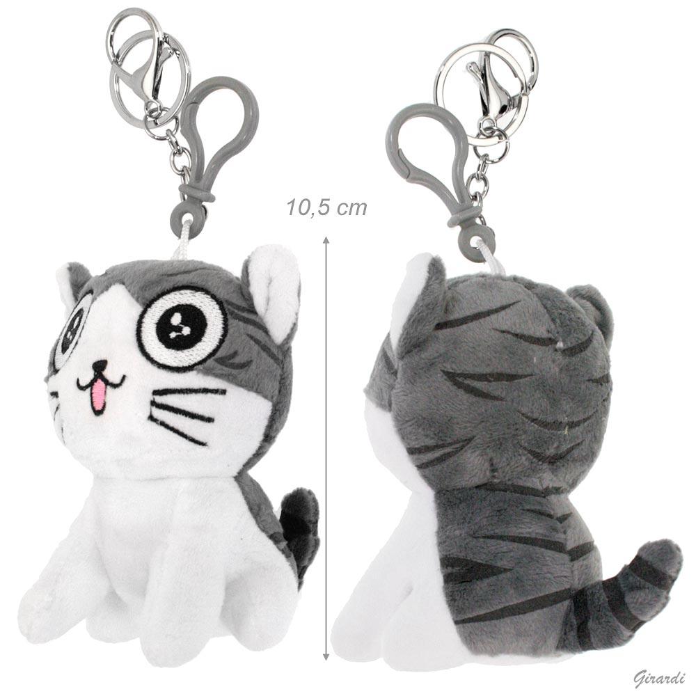 Metal Keychain With Plush Kitten