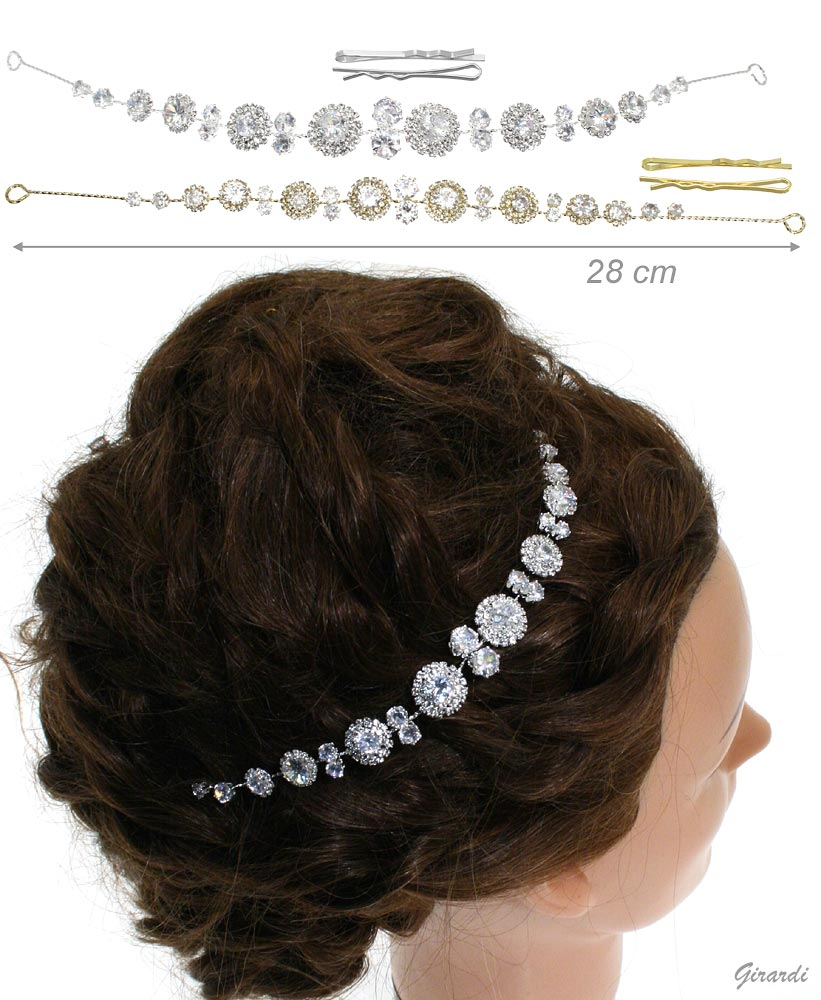 Metal Hair Decoration With Strass And Zirconia Flowers