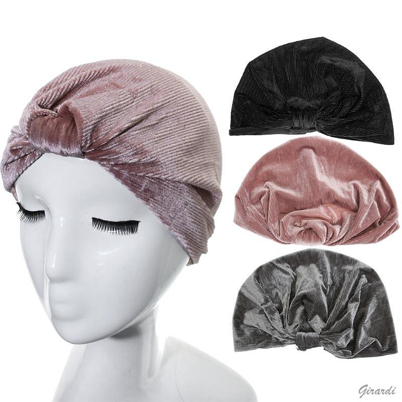 Velvet Turban With Stripes