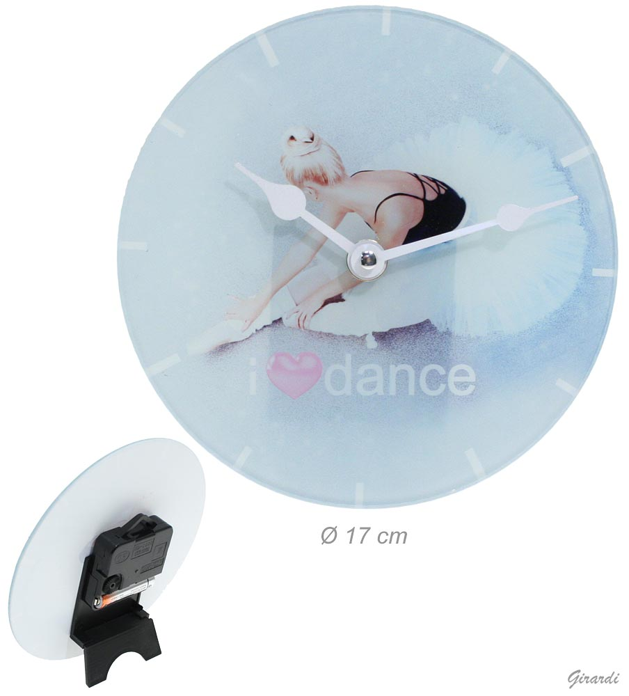 Glass Table Clock With Ballerina 17 Cm