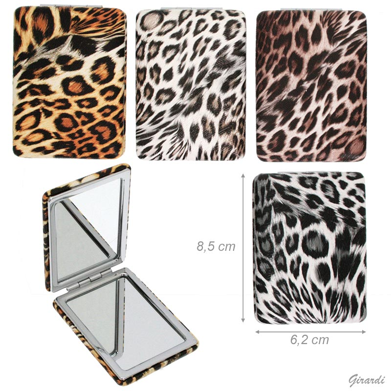 Leopard Print Faux Leather Compact Mirror-rectangular