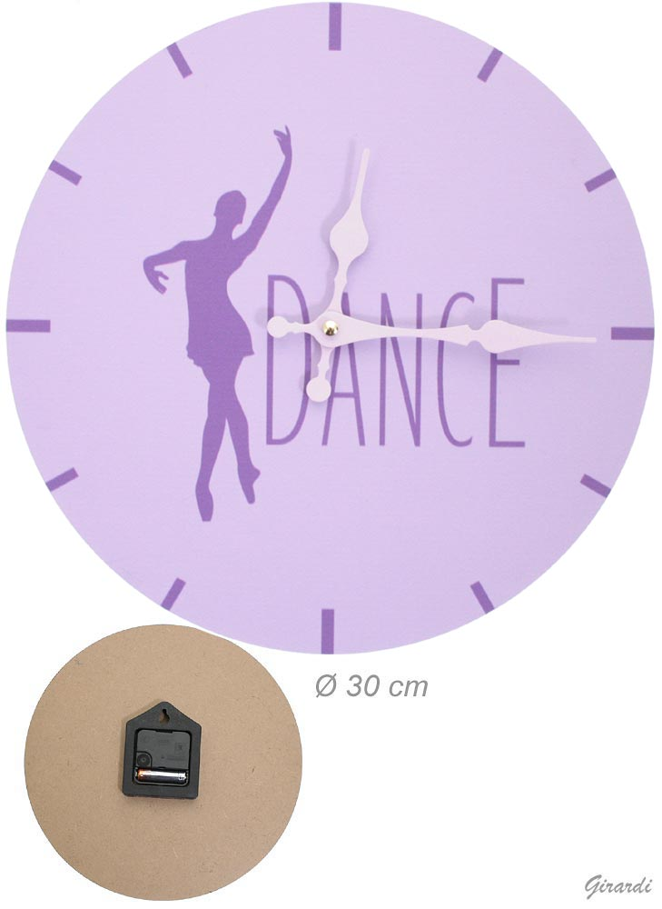 Wall Clock In Pressed Wood With Lilac Ballerina