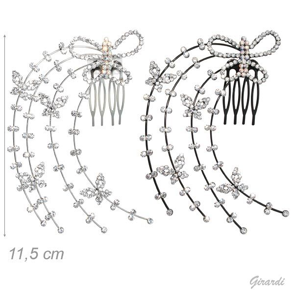 Hair Comb With White And Borealis Strass Butterflies